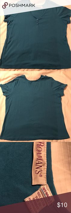 SALE TODAY! Plus size Roaman's tee 3xl Plus size Roaman's tee with sweetheart neckline and buttons.  Never worn, no tags.  It's a light blue/turquoise color. roamans Tops Tees - Short Sleeve