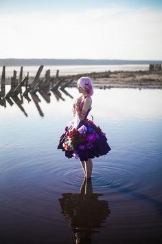 Guilty Crown GC YUZURIHA INORI purple flowers cosplay costume top+skirt