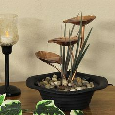 Unique home office table Piece 3 metal leaf cascading tabletop fountain decoration piece,Tigerfn Sales