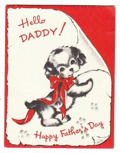 Vintage Norcross Puppy with Sign Father's Day Greeting Card