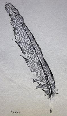 Black Feather 2 -- original ink drawing. $15.00, via Etsy.