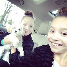Maddie and Mackenzie going to ballet class with maliboo their puppy.