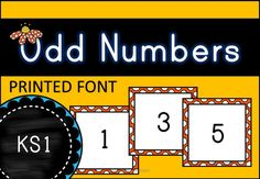 A complete set of Odd Numbers for Display. Includes 'Header/Border', numbers are displayed in the same colour of border and are square in shape. Includes numbers from 0-99...