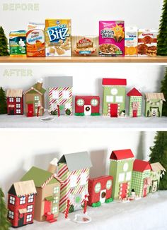 A great way to recycle and decorate! 25 Days Of Christmas, Little Christmas, Vintage Christmas, Christmas Crafts, Christmas Windows, Christmas Decorations, Christmas Ideas, Christmas Village Display, Christmas Villages