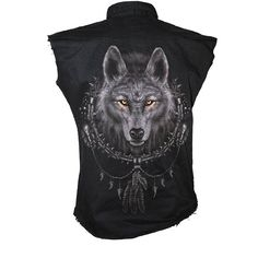 - - - - - > [ $19.49 ] Spiral Men's WOLF DREAMS Sleeveless Stone Washed Worker Shirt - Black