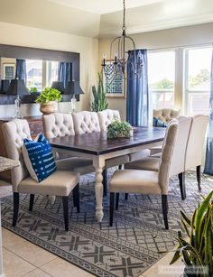 How to build a DIY Farmhouse Dining Table with off-the-shelf lumber and store-bought turned legs. Free plans by Jen Woodhouse.
