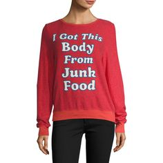 Wildfox Women's Junk Food Body Baggy Beach Sweater - Size L ($49) ❤ liked on Polyvore featuring tops, sweaters, multi, red sweater, knit top, knit sweater, crew sweater and beach sweater