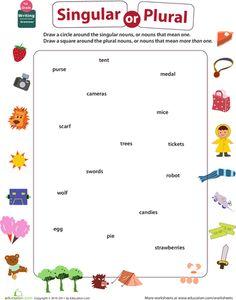 First Grade Writing Sentences Grammar Worksheets: Get into Grammar: Singular or Plural Nouns? Nouns First Grade, First Grade Writing, 2nd Grade Reading, Kids Math Worksheets, Writing Worksheets, Writing Sentences, Number Worksheets, Plural Nouns Worksheet, Singular And Plural Nouns