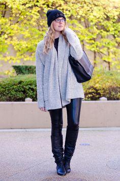 embellished beanie + grey cardi + leather leggings