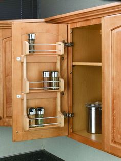 Buy the Rev-A-Shelf Natural Wood Direct. Shop for the Rev-A-Shelf Natural Wood Series Door Mount Spice Rack for Wall Cabinet and save. Cabinet Door Storage, Kitchen Cabinet Drawers, Kitchen Cabinet Organization, Storage Racks, Storage Ideas, Organization Ideas, Cabinet Makeover, Cabinet Ideas, Shelf Ideas
