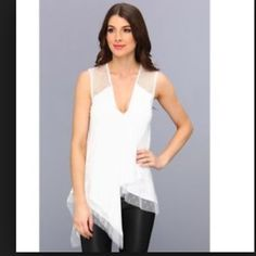 BCBG MAXAZRIA White Top final price White sleeveless drape white top. Runs big. This is a small and I need and XS. **Brand New With Tags**       Bundle for any additional discounts. Thank you.28 BCBGMaxAzria Tops