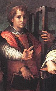 "St. Lawrence of Rome, d. 258. ""Keeper of the treasures of the Church."" Patron of seminarians, students, archivists."