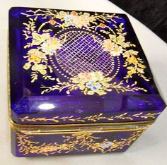 Antique Glass Box Moser Enameled Design All Over Bronze Mounts Unusual Shape | eBay