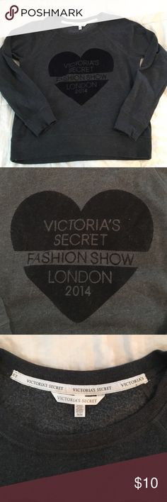 ⚜️VS Fashion Show pullover crew neck hoodie Victoria's Secret. From the 2014 fashion show in London. Dark grey and the black part is velvet. Crew neck and long sleeve. Size medium. Great condition, no stains or tears. Smoke free. Victoria's Secret Tops Sweatshirts & Hoodies
