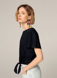 T-shirt with knot - View all - Ready to wear - Uterqüe United Kingdom