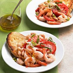 Shrimp and Bean Packets Fresh vegetables and seasonings are added to foil packets of shrimp and beans, then served over toasted country-style bread for a satisfying seafood main dish recipe.