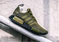"adidas NMD ""Olive"" Releasing with Black Boost - Nike Store Online Adidas Nmd R1, Tenis Nmd, Reebok, Sneaker Store, Air Jordan, Black Sneakers, Leather Sneakers, Running Shoes For Men, Nike Shoes"