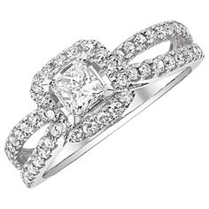 Two Hearts Princess Cut Engagement Ring in White Gold, 1 ct. tw.