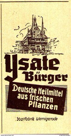 Original-Werbung/ Anzeige 1944 - YSATE BÜRGER HEILMITTEL / YSATFABRIK WERNIGERODE - Ca. 45 X 80 Mm - Werbung