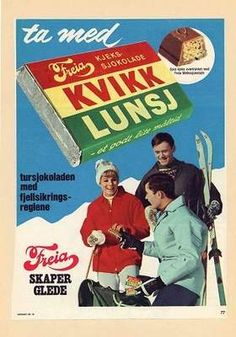 The Norwegian KitKat. In such a healthy and active country as Norway, I find it hard to comprehend that a chocolate bar has such a place in peoples hearts! The Kvikk Lunsj bar is known for its distinctive red, yellow and green wrapper. Ski Posters, Travel Posters, Vintage Ski, Vintage Posters, Chocolates, Norwegian Food, Lost In The Woods, Illustrations, Warm Outfits