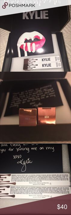 KylieCosmetics King K & Reign % Authentic  Kylie Cosmetics metals 'King K' & 'Reign'. I paid full price ($18) plus shipping. As you know Poshmark takes 20%. I paid $45, so I am losing $ but attempting to sell to recoup the best I can. Guaranteed authentic, box & post card included,  and I believe I still have the receipt which can be included with purchase (if I find it). Please do not lowball me or write nasty comments; I know what the prices are❣️ Thanks for looking…
