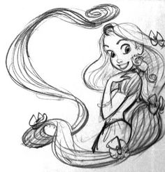 """pixarchan: """"Rapunzel & pascal's sketch by our favorite animator Glen Keane """" Tangled 2010, Disney Tangled, Disney Art, Tangled Rapunzel, Disney Princess, Rapunzel Sketch, Rapunzel Drawing, Disney Sketches, Disney Drawings"""