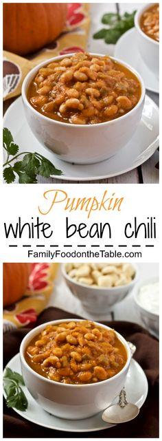 Pumpkin white bean chili - a 30-minute vegetarian chili made with pumpkin and pumpkin beer!