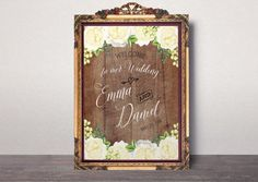 Wedding Welcome sign Rustic wooden Welcome wedding by AlniPrints #wedding #fall #invitation #gold #white #Purple # pumpkin #invite #decor #welcome #insta #instagram #hashtag