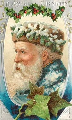 A vintage Christmas card depicting Father Christmas. All three Yuletide plants, Holly, Ivy, and Pine are featured. www.mythologymagazine.com