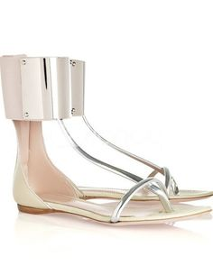 Cool Beige Flat Ankle Strap Thong Fashion Sandals ($85.99)