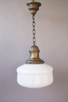 Simple 1920's Brass School House Pendant, Antique Chandeliers, Antique and Spanish Revival Lighting: Sconces,Chandeliers etc. at Revival Antiques