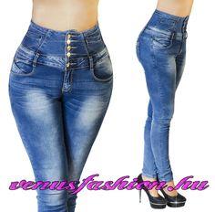 6740eb238b Magas derekú női farmer 5 gombos XS S M L XL - Venus fashion női ruha  webáruház Csőfarmer