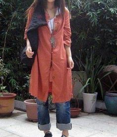 flax shirt coat and boyfriend jeans