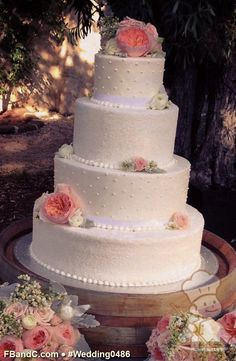 "Design W 0486 | Butter Cream Wedding Cake | 16""+12""+9""+6"" 