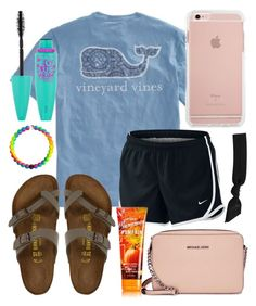 """Shopping outfit "" by jadenriley21 on Polyvore featuring NIKE, Birkenstock, Michael Kors, Maybelline and Splendid"