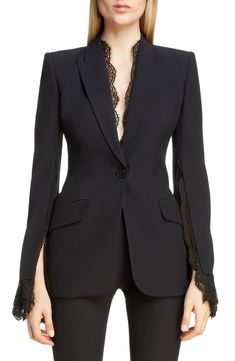 Looking for Alexander McQueen Lace Trim Blazer ? Check out our picks for the Alexander McQueen Lace Trim Blazer from the popular stores - all in one. Women's Dresses, Fashion Dresses, Blazer Fashion, Suit Fashion, Fashion Women, 50 Fashion, Fashion Styles, Suits For Women, Clothes For Women