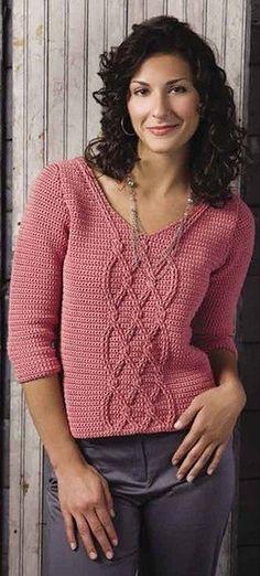 Пуловер крючком с косами — Мир вязания и рукоделия