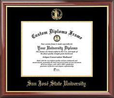 San Jose State University Diploma Frame - Embossed Seal - Mahogany Gold Trim