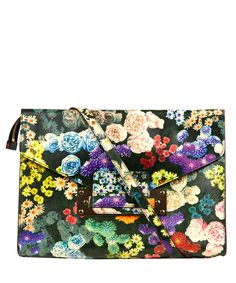 Sophie Hulme Floral Envelope Leather Clutch Bag | Handbags by Sophie Hulme | Liberty.co.uk