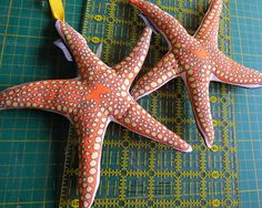 Starfish softie from a swatch of fabric. Red Star fabric by Wiccked…