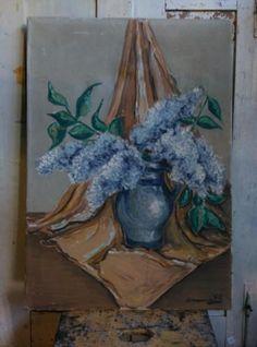 Oud Brocante Antiek Schilderij Stilleven Bloemen Seringen