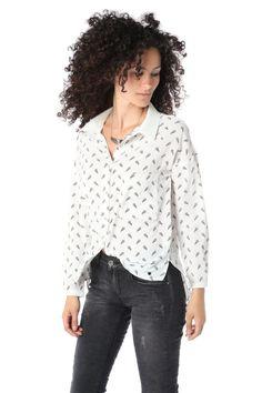 Blusa estampada de manga larga blanca