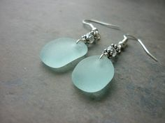 Sea Glass Earrings Aqua Blue Beach Seaglass by TheMysticMermaid $28