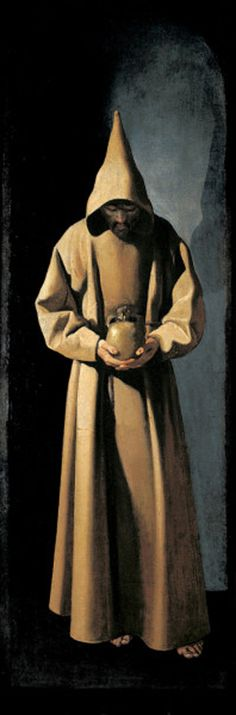 """St. Francis Contemplating a Skull aka Saint Francis of Assisi in His Tomb""""- Francisco de Zurbaran (1598-1664 - Spanish Baroque painter) This is a painting that hung in my Nana's living room."""