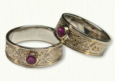 Celtic Triskele Knot Wedding Band Set-Set with 5mm Bezel Set Ruby- Available In All Widths & Metals