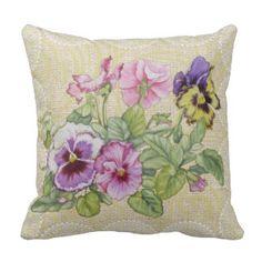 Pansy & lace floral vintage pillow