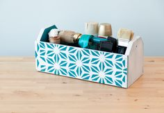Wooden Craft Supplies Box made with Cricut Stencil Vinyl Material. Make It Now with the Cricut Explore machine in Cricut Design Space.