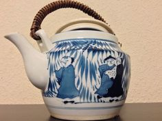 "Chinese Lover Emotions Art Hand Painted Blue Glaze 10"" Teapot/Bamboo/Wood Handle #QingDynastyEra #unidentifiedSEEPHOTOOFMARKONUNDERSIDEOFLID"