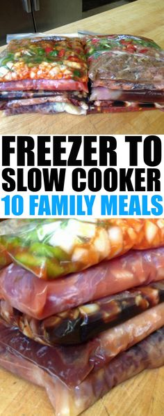 10 Freezer to Slow Cooker Family Meals - Prep 10 meals in an hour. Easy family dinner ideas using the slow cooker. 10 Freezer to Slow Cooker Family Meals - Prep 10 meals in an hour. Easy family dinner ideas using the slow cooker. Slow Cooker Freezer Meals, Slow Cooker Recipes, Crockpot Recipes, Cooking Recipes, Freezer Cooking, Slow Cooker Meal Prep, Freezable Meals, Cooking Ham, Clean Freezer Meals