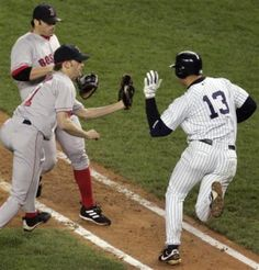"""A-Rod slapping the ball out of Bronson Arroyo's glove """"What I do? What I do?"""" You know what you did, Flippin Cheater"""